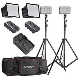 Neewer 2 Pieces 176 LED Dimmable on Camera Light and Stand K
