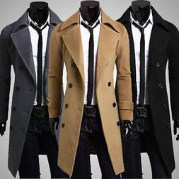 2019 Hot Men's Trench Coat Winter Mens Long Double Breasted