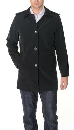 $250 Nautica Mens Black Hip Length Trench Rain Coat Jacket w