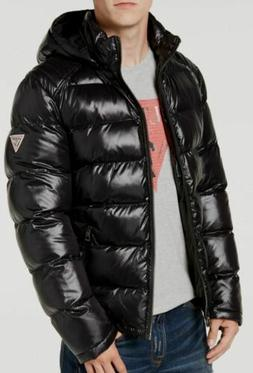 $498 Guess Men Black Hooded Puffer Water/Wind-Resistant Bomb