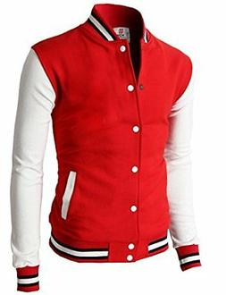 H2H Mens Body Fit Smart Casual Varsity Baseball Bomber Jacke