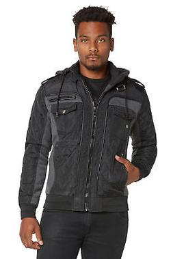 Mens Winter Coat Quilted Puffer Jacket Removable Hood by 9 C