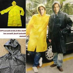 New Mens Rain Coat Heavy Duty Long PVC Rain Wear/Rain Jacket
