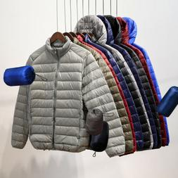Packable Men's Duck Down Jacket Ultralight Stand Collar Oute