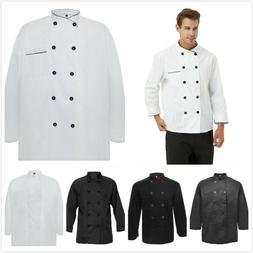 TopTie Long Sleeve Chef Coat Jacket 10 Buttons Black White M