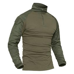 MAGCOMSEN Army T Shirts for Men Long Sleeve 100 Cotton Jacke