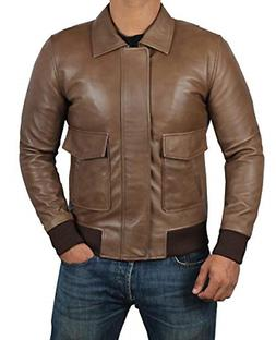 Decrum Brown Leather Bomber Jackets - Mens Leather Jacket |