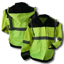 Class 3 Rain Jacket Lime With Black Accents