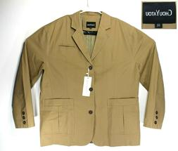 ChouYatou Cotton Twill Suit Jacket, Men Size XXL, Khaki, Str