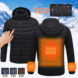 Electric USB Men Winter Heated Hooded Vest Warm Coat Heating