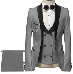Elegant Grey <font><b>Men</b></font> Suit Prom Tuxedo Slim F