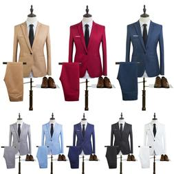 Fashion Clothes Set Jacket+Pants Men's Business Formal Groom