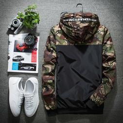 Fashion Men's Sport Loose Coat Tops Casual Camo Thin Hooded