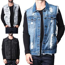 Fashion Mens Denim Jeans Vest Retro Cotton Sleeveless Man Vi