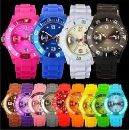 Fashion Women Men Silicone Rubber Jelly Band Wrist Watch For