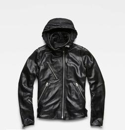 G-STAR EMPRAL 3D BLACK LEATHER JACKET WITH HOOD MENS SMALL N