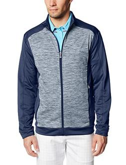 adidas Golf Men's Spacedye Block Full Zip Jacket, Rich Blue/