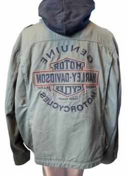 Harley Davidson 3 In 1 Hooded Olive Green Canvas Embroidered