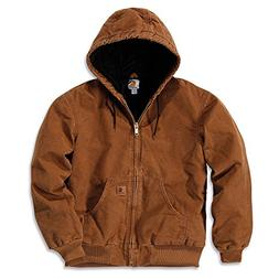 Carhartt Work Jacket Mens Quilt Flannel Lined Hooded Brown J