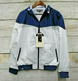 Encrypted Jacket Mens Size XLarge Blue & White Hooded Jacket