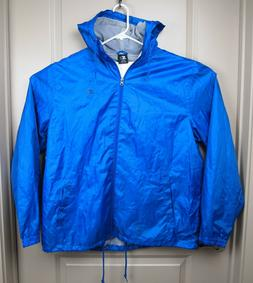 Starter Jacket Windbreaker Mens XL Blue with hood and hand p