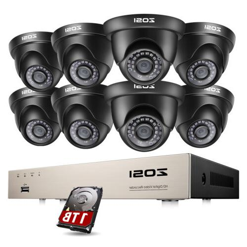 ZOSI 8CH 1080N DVR 1TB 720P 1500TVL Outdoor Indoor CCTV Secu