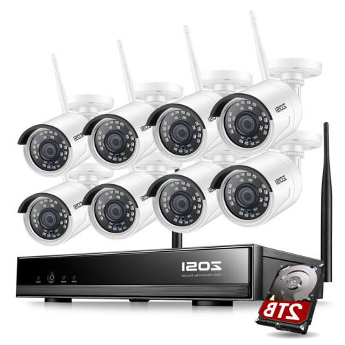 ZOSI 8CH 1080p Wireless NVR 2MP Outdoor Security IP Camera C