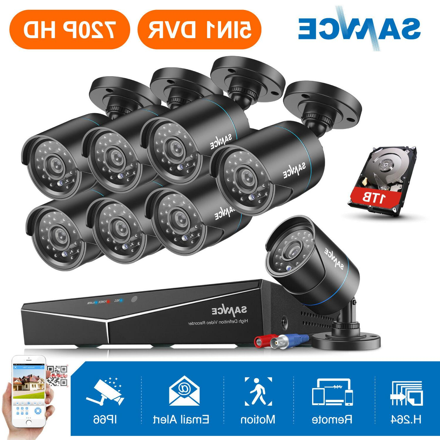 SANNCE 5in1 1080P HDMI 8CH /4CH DVR 720P Outdoor Security Ca