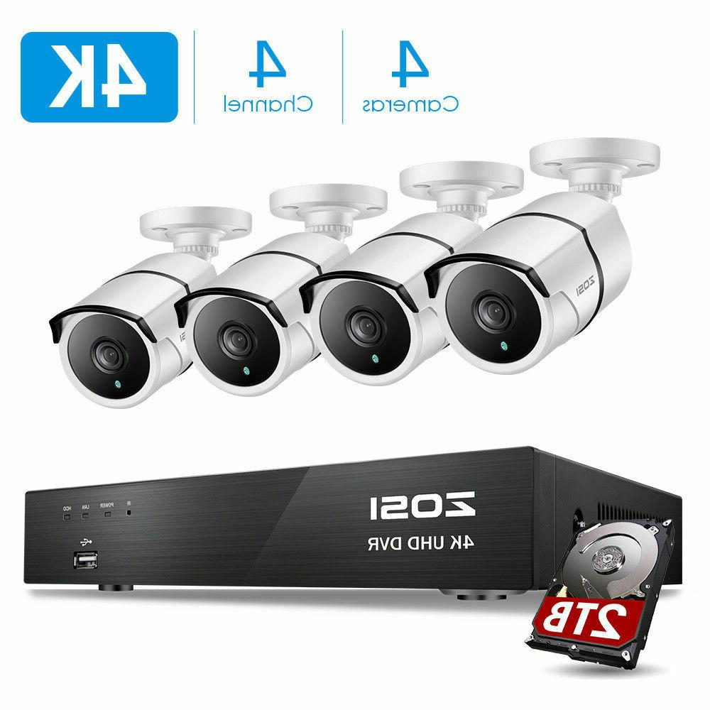 ZOSI 4K H.265+ Security Camera System with 2TB Hard Drive 4C