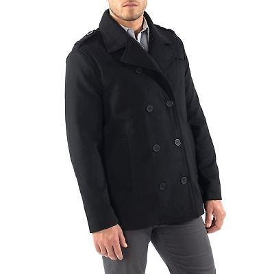 Alpine Swiss Mens Pea Coat Wool Double Breasted Jacket Peacoat