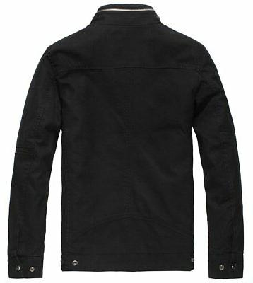 Wantdo Cotton Stand Collar Jacket Black