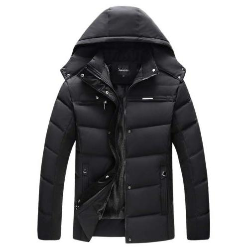 Winter Mens Cotton Padded Jacket Parka Hooded Outwear With V