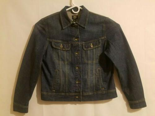 denim jean jacket mens size large cotton