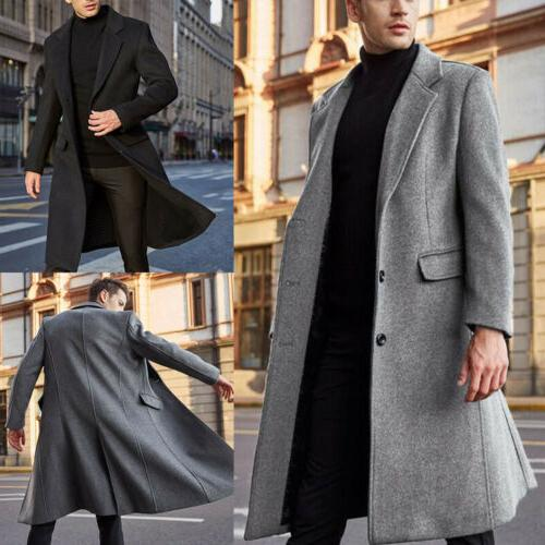 Men's Winter Warm Jacket Wool Trench Coat Cardigan Outerwear