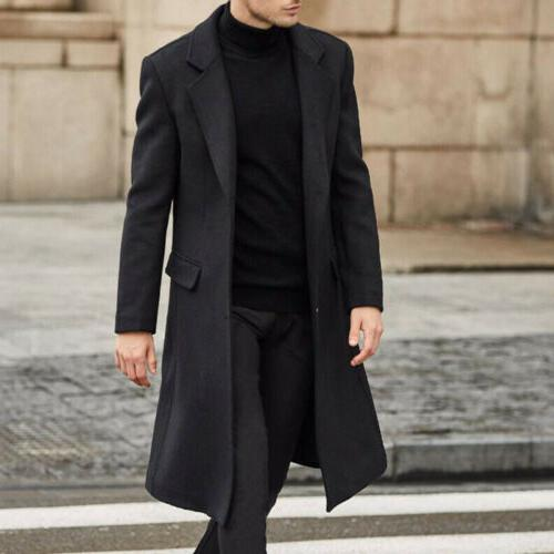 Men's Wool Trench Cardigan Outerwear Overcoat USA