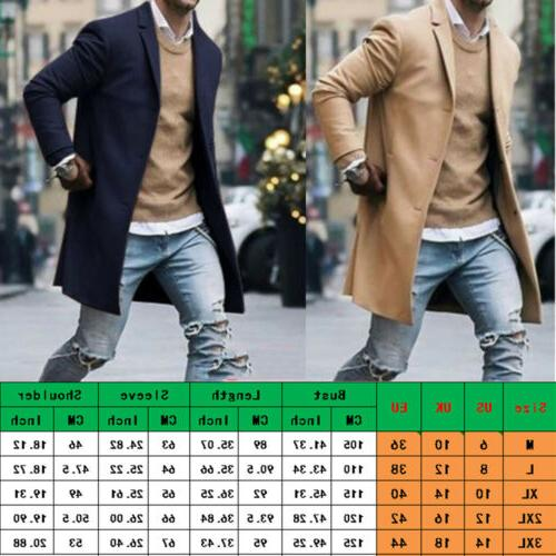 Fashion Mens Wool Winter Trench Coat Outwear Overcoat US