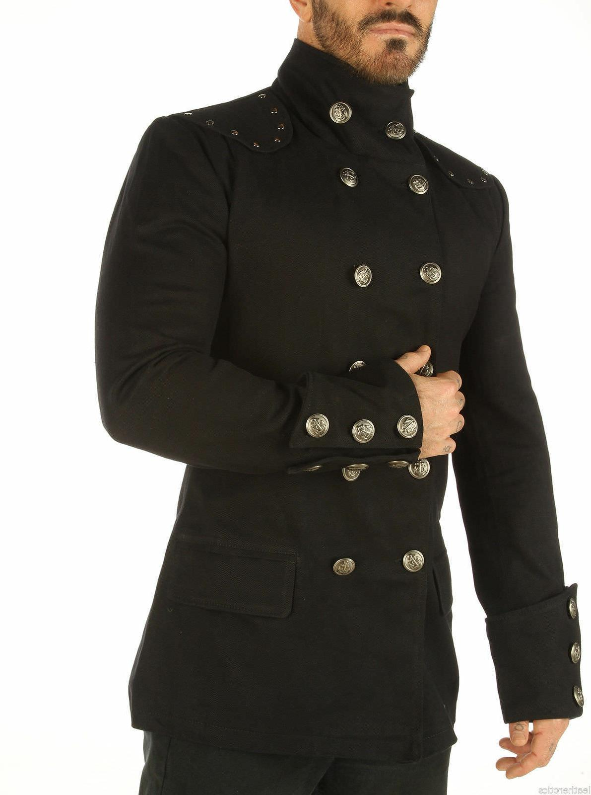 Gothic Military Jacket Mens Black Cotton Top Trench Black Co