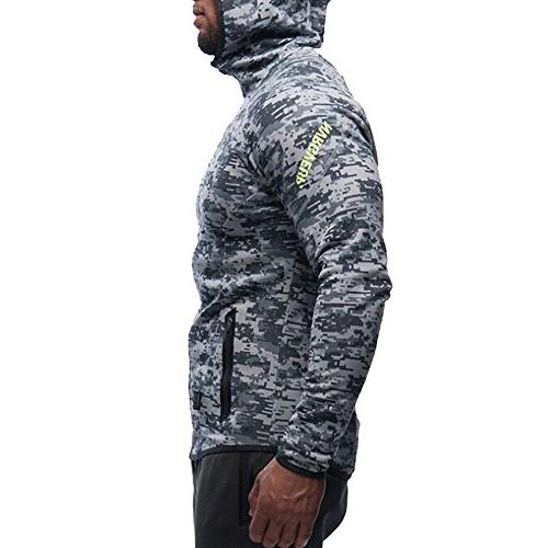 EVERWORTH Men's Gym Hoodie Fitted Bodybuilding Running Blue Camo)