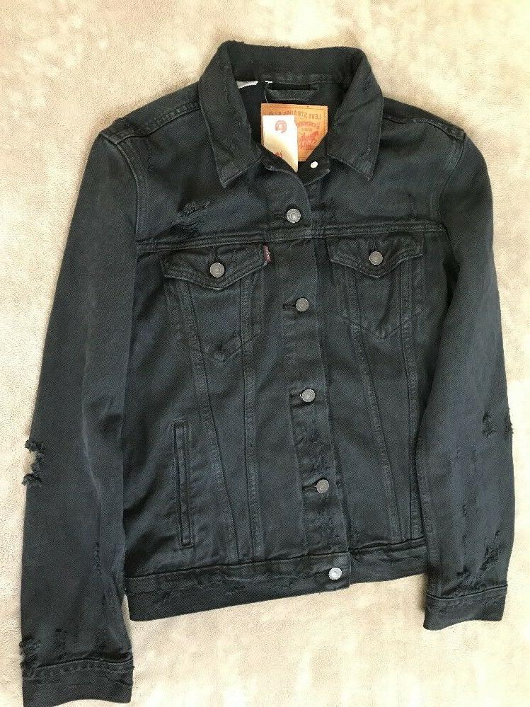 Levis Mens Trucker Denim Jacket Black Destroyed Sizes S M L