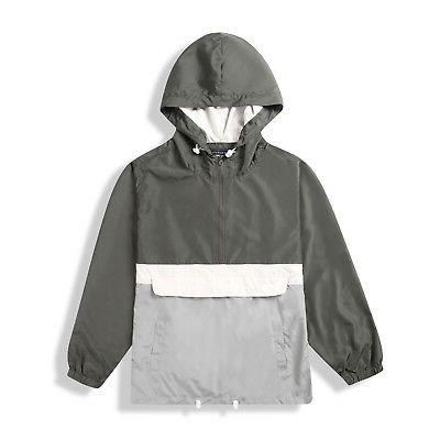 men hood lightweight windbreaker zip pullover coat