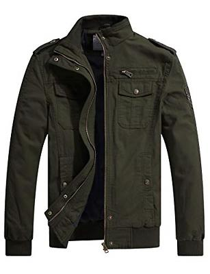 WenVen Men's Fall Casual Cotton Air Force Jacket Military Gr