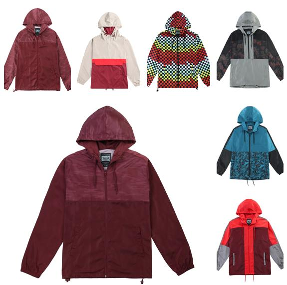 men s hooded lightweight casual colorblock windbreaker