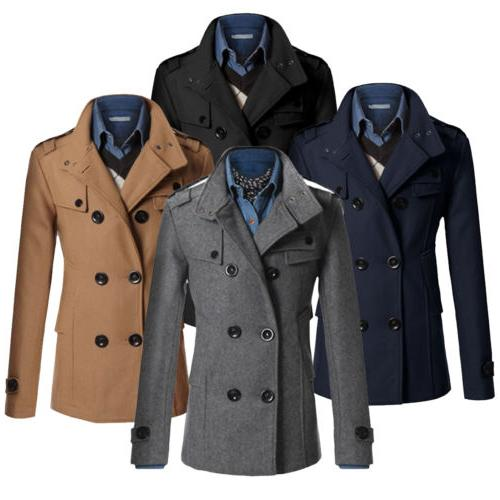 Men's Thicken Trench Coat Double Breasted Long Jacket Outwea