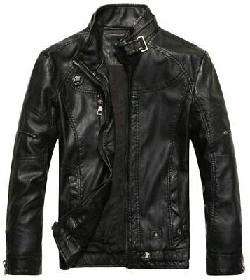 Chouyatou Men's Vintage Stand Collar Pu Leather Jacket Black
