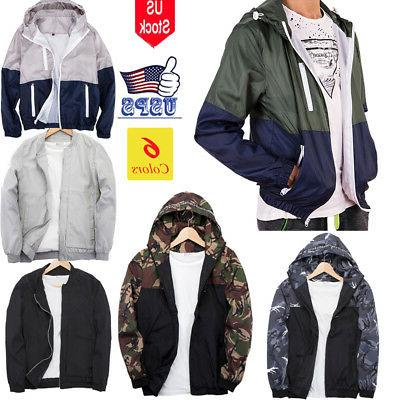 men s waterproof windbreaker zipper jacket hoodie