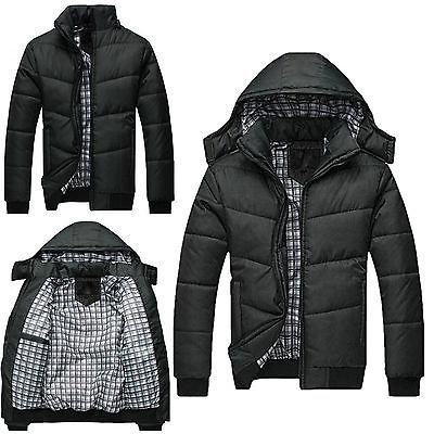 Men's Black Puffer Jacket Warm Overcoat Outwear Padded Hoode