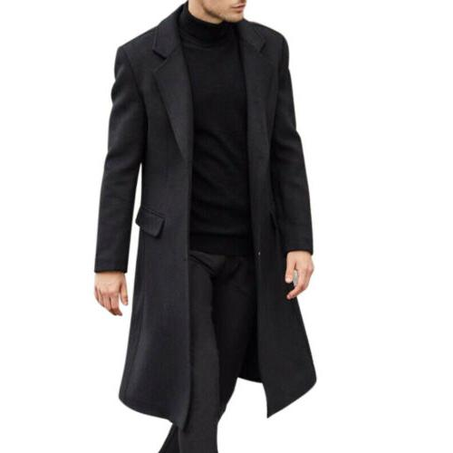 Men's Warm Wool Trench Outerwear Long Overcoat USA