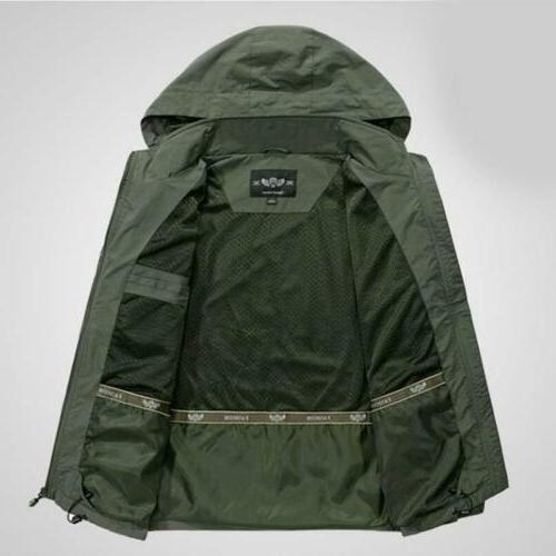 Mens 2019 Jacket Hooded Outdoor Camping Windbreaker Outwear