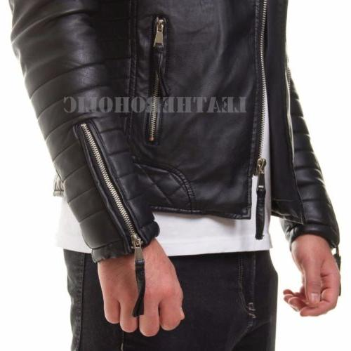 MENS LEATHER JACKET SLIM FIT REAL BIKER NEW VINTAGE