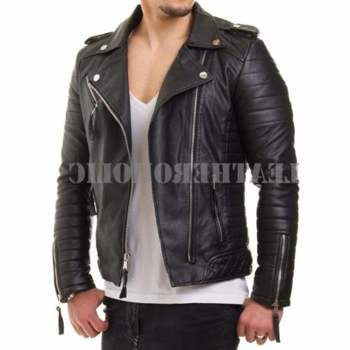 MENS LEATHER JACKET SLIM FIT BIKER